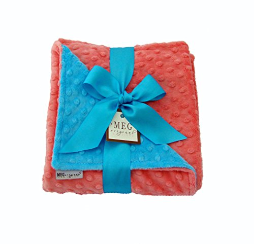 MEG Original Coral & Turquoise Minky Dot Blanket for Baby Girls - 1