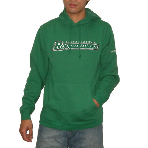 CFL Saskatchewan Roughriders Mens Athletic Warm Pullover Hoodie / Sweatshirt Jacket with Embroidered Logo (Size: L)