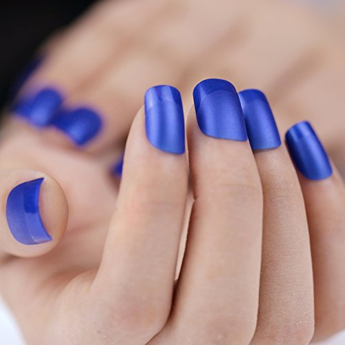 Bling Art False Nails French Manicure Matte Blue Full ...