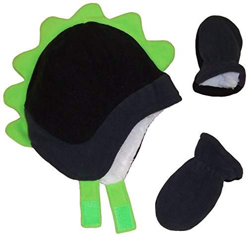 N'Ice Caps Boys Soft Sherpa Lined Micro Fleece Dino Hat and Mitten Set (12-18mos, Infant - Black/Charcoal/Neon Green)
