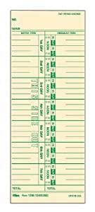 TOPS Time Cards, Weekly Format, Green Ink Front, 3.5 x 9 Inches, 500-Count, Manila (1256)