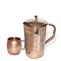 DakshCraft Hight Quality Pure Copper Jug With 1 Pure Copper Moscow Mule Mug