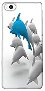 Snoogg 3d dolphins Hard Back Case Cover Shield For Xiaomi Mi4i / Mi4I