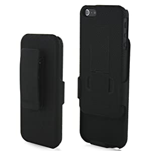 MiniSuit Clipster Combo Case with Kick Stand + Holster Belt Clip for Apple iPhone 5 (AT&T, Verizon, Sprint and Unlocked Models)- Black