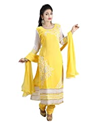 Sharmili Womens Georgette Fabric Ready-To-Wear Straight Embroidered Salwar Suit With Decorative Laces