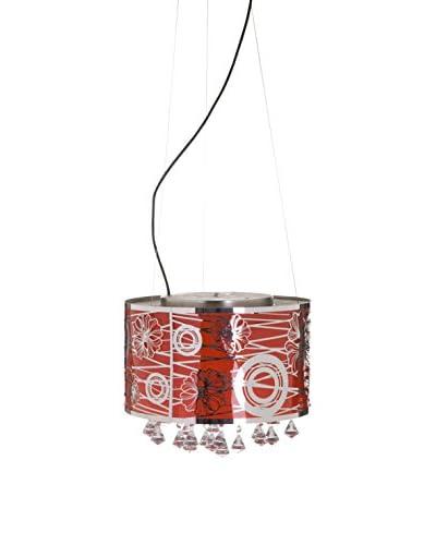 Glam Home Lámpara De Suspensión Rojo/Plata