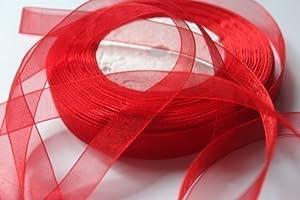 DIY Wedding & Crafts - Ruban Voilage Organza Rouleau de 12 mm x 45 Mètres pour Noël - Rouge