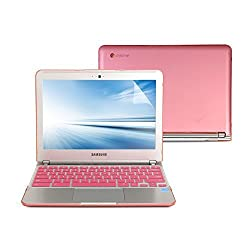 GMYLE 3 in 1 Bundle for Samsung Series 3 Chromebook 11.6 inch (XE303C12) - Pink Hard Case Cover - Silicone Keyboard Cover(US Layout) - Screen Protector (Not Fit for Samsung Chromebook 2 and 3)