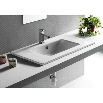 Caracalla Caracalla CA4530-820-1Hole-637509861049 Ceramic Self Rimming Washbasin, White