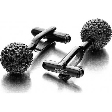 Shimla SH 105 IP Black Stainless Steel Cufflinks- Black Fire Ball with Black CZ Crystals