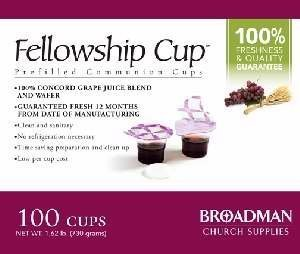 Fellowship cup,Prefilled communion cups juice/wafer-100 cups (net wt.1.62 lb) by BROADMAN CHURCH SUPPLIES (Communion Supplies compare prices)