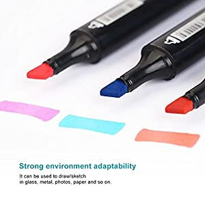 30 Colors TOUCHNEW Dual Tips Art Sketch Twin Marker Pens Highlighters with Carrying Case for Painting Coloring Highlighting and Underlining(Student Selection)-Lightwish (30 Colors, Black) (Color: Black, Tamaño: 30 Colors)