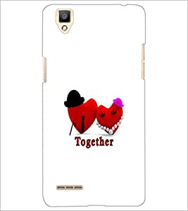 PrintDhaba Love Hearts D-1190 Back Case Cover for OPPO F1 (Multi-Coloured)