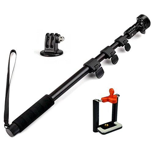 Amababa(Tm)48 Inch High Grade Heavy Duty Extendable Handheld Monopod Selfie Stick+Tripod Mount Adapter+Mobile Phone Tripod Mount Adapter Bundle For Gopro Hero 1/2/3/3+ Digital Camera And Cellphone(Up To 85Mm Width)