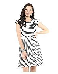Yepme Cut Out Swing Dress - Ecru & Black -- YPMDRES0185_XL