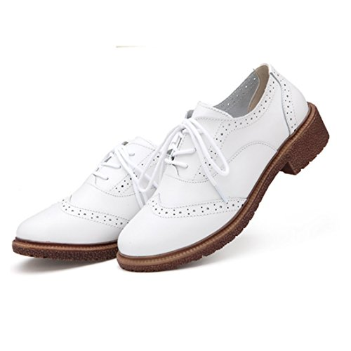 Fheaven Spring New British Style Shoes Retro Shoes With Thick With Oxford Shoes (US:7, white)