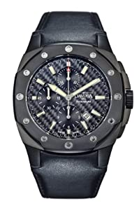 Davosa Titanium Limited Edition Chronograph Men's Automatic Watch with Black Dial Analogue Display and Black Leather Strap 16150685