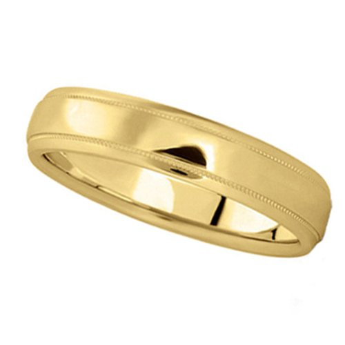 Allurez Carved Wedding Band in 14k Yellow Gold (4mm) - K 1/2