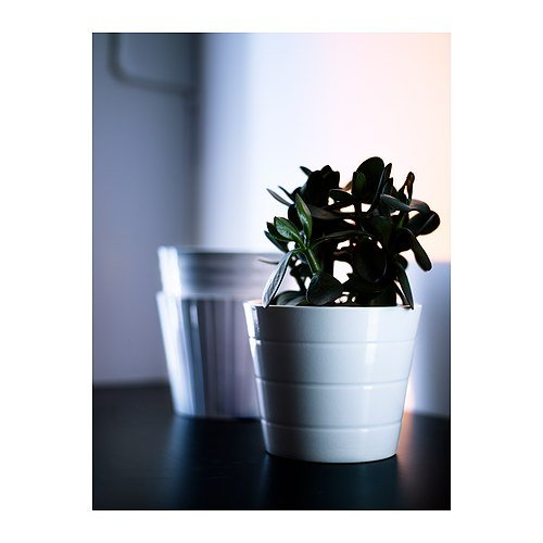 Ikea kardemumma ceramic white flower plant pot package for Black planters ikea