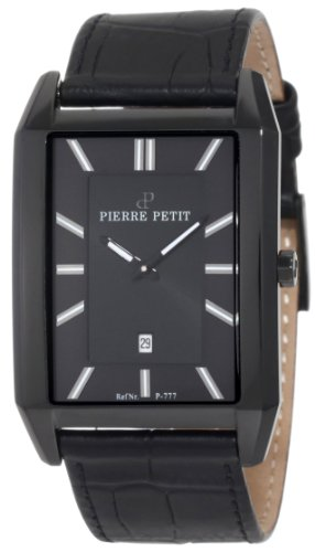 Pierre Petit P-777B - Reloj analógico de cuarzo para hombre con correa de piel, color negro