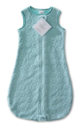 SwaddleDesigns zzZipMe Sack with 2-Way Zipper, Cozy Microplush Wearable Blanket, Jewel Tone Puff Circle in Turquoise 6-12 months