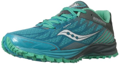 Saucony Women's Peregrine 4 Trail Running Shoe,Blue/Teal/Grey,8.5 M US