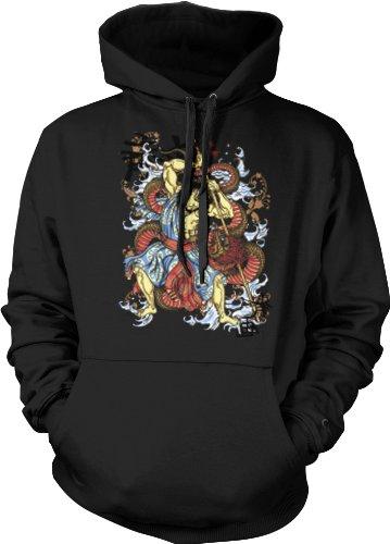 Warrior Battling Dragon Mens Tattoo Sweatshirt, Old School Samurai Tattoo Mens Pullover Hoodie, X-Large, Black
