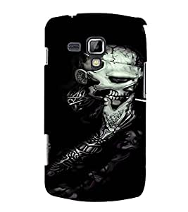 PrintVisa Cool Skeleton Smoke Design 3D Hard Polycarbonate Designer Back Case Cover for Samsung Galaxy S Duos S7562