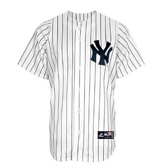 MLB New York Yankees Brett Gardner White Navy Pinstripes Home Short Sleeve 6 Button... by Majestic