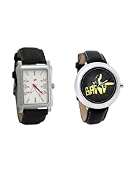 Gledati Men's White Dial And Foster's Women's Black Dial Analog Watch Combo_ADCOMB0001790