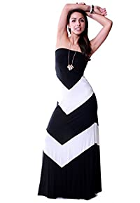 LeggingsQueen Women's Chevron Modal Spandex Maxi Dress