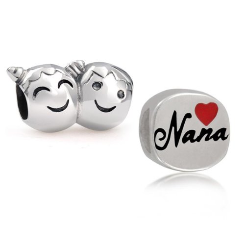 Bling Jewelry 925 Silver Boy Girl Face Nana Heart