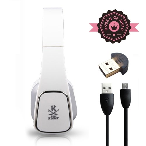 M1 White Bluetooth 4.0 Headphones With Built-In Mic And 12 Hour Battery. Includes Bluetooth Adapter. 2014 New Release