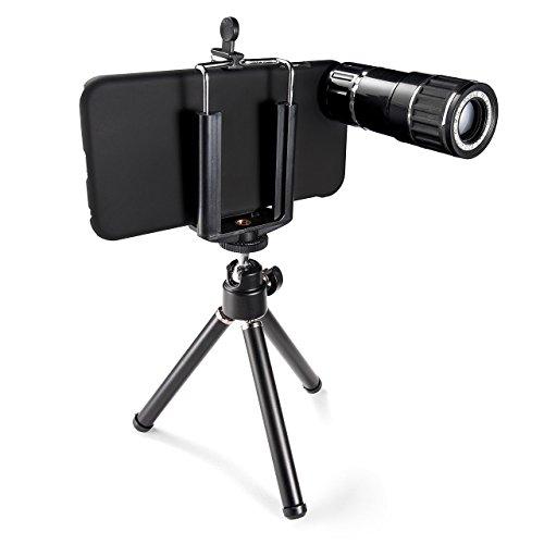 サンワダイレクト iPhone6s / 6s Plus 対応 望遠レンズキット 光学12倍 ミニ三脚&専用ケース付 400-CAM046