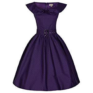 Lindy Bop 'Hetty' Polka Dot Bow Shawl Collar Vintage 1950's Rockabilly Swing Dress (S, Purple)