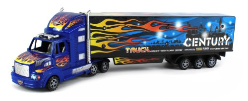 Exceed Century Semi Trailer Battery Operated Friction Toy Truck Ready To Run W/ Flashing Led Lights (Colors May Vary)