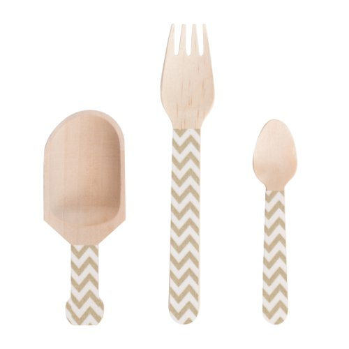 Dress My Cupcake Wooden Candy Buffet Cutlery And Scoops Diy Kit, Whimsy Chevron, Gold