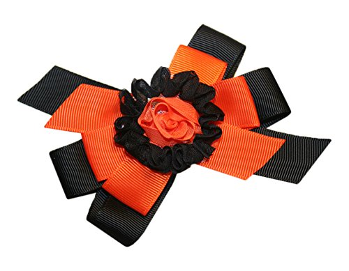 Webb Direct 2U Baby-Girls Shabby Rose Orange Black Bow French Clip (8037Fc) front-1010732