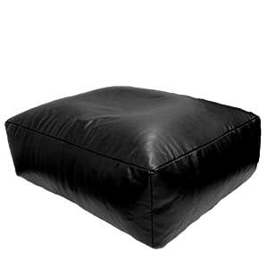 Faux Leather Black Bean Bag Slab Footstool Pouffe Pet Bed