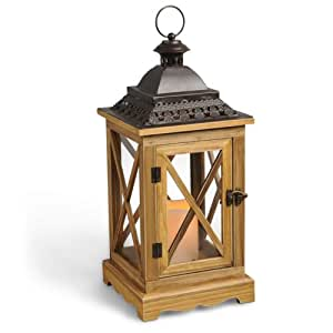 Gerson 17-Inch Wood Criss Cross Pane Lantern with Rustic Metal Roof and 3 by 4.5-Inch Indoor/Outdoor LED Candle