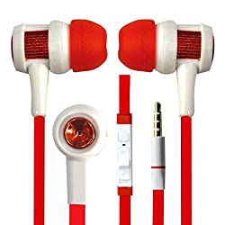 Hello Zone Fashionable and Stylish Headset Handsfree Headphone Earphone with Mic 3.5 MM Jack for Dell Smoke -Red