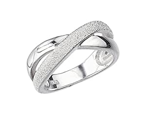 Elements Sterling Silver R702 58 Ladies 1/2 Diamond cut Crossover Kiss Ring - Size Large