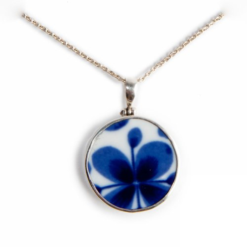 Pavo Jewelry Vintage Porcelain and 925 Sterling Silver Pendant, Indigo Flower Design, Mon Amie Pattern from the Historic Rörstrand Castle (Round)