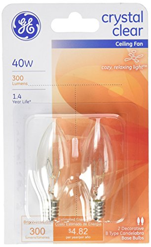 GE Lighting 81561 40-Watt 280-Lumen Decorative B13 Incandescent Light Bulb, Crystal Clear, 2-Pack (Lightbulb Type B compare prices)