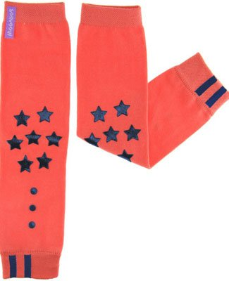 Engage Grip Huggalugs Baby Leg Warmers Blue Stars Orange - 1