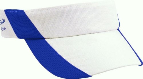 Headsweats Performance Super Running/Outdoor Sports Visor, White/Royal Blue, One Size Fits All