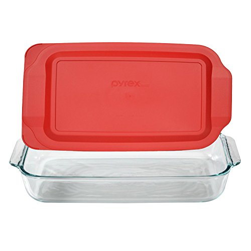 Pyrex Basics 3 Quart Glass Oblong Baking Dish with Red Plastic Lid - 9 inch x 13 Inch by Pyrex (1quart Baking Dish compare prices)