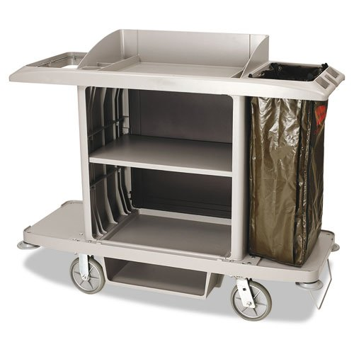 Rubbermaid Commercial Full-Size Housekeeping Cart, 1-Shelf, 22W X 60D X 50H, Platinum - One Storage Cart, One Vinyl Bag. front-525860