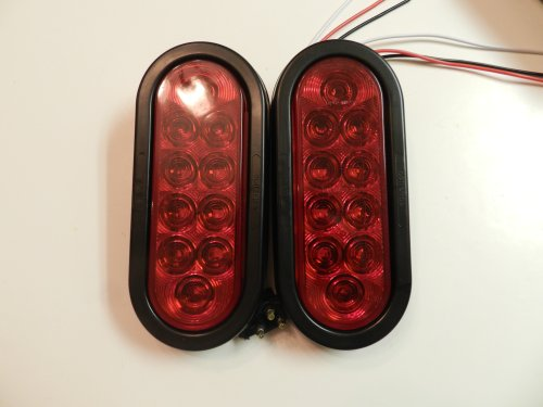 """1 Pair Red 6"""" Oval Led 10 Diode Tail Light W/Grommet & Plug Truck Trailer Sealed **Free Shipping**"""