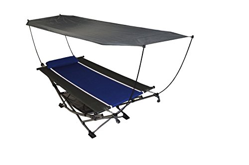 Mac Sports Blue Ripstop Fabric Portable Folding Hammock 250 Lbs Capacity w Canopy & Pillow